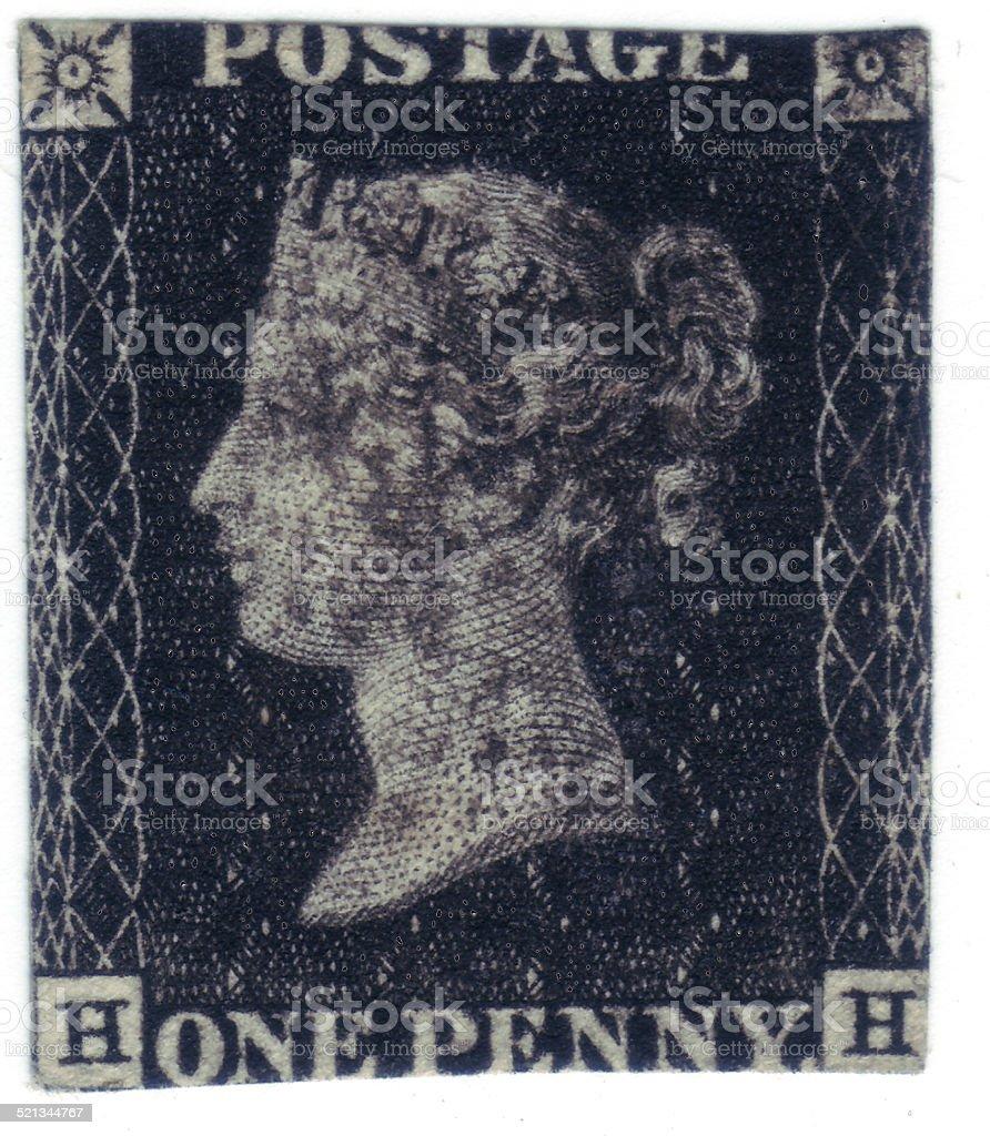Original Penny Black Postage Stamp 1840 stock photo