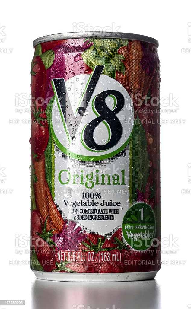 V8 Original Vegetable Juice can with water drops stock photo