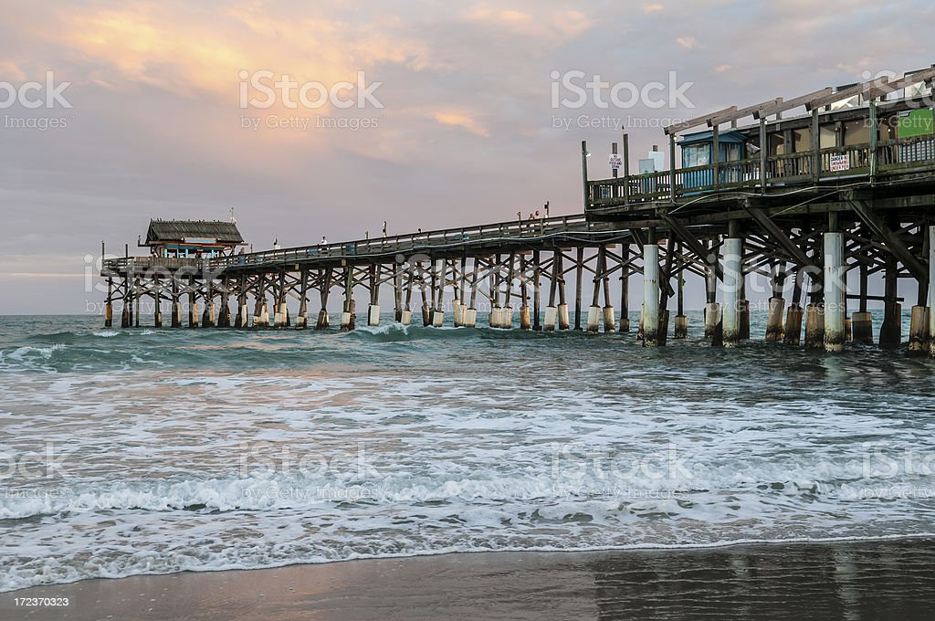 Cocoa Beach Pier at sunset in Florida royalty-free stock photo