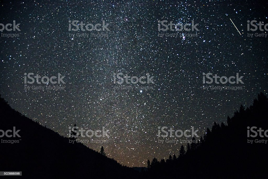 Orion and meteor stock photo