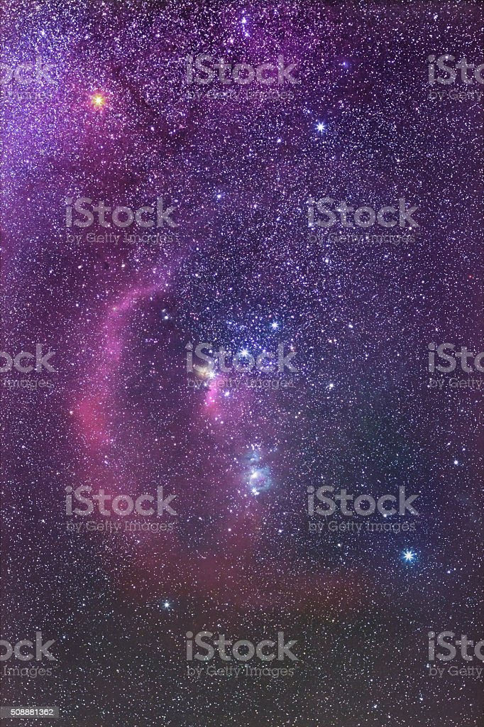Orion Constellation and Barnard's Loop Nebula stock photo