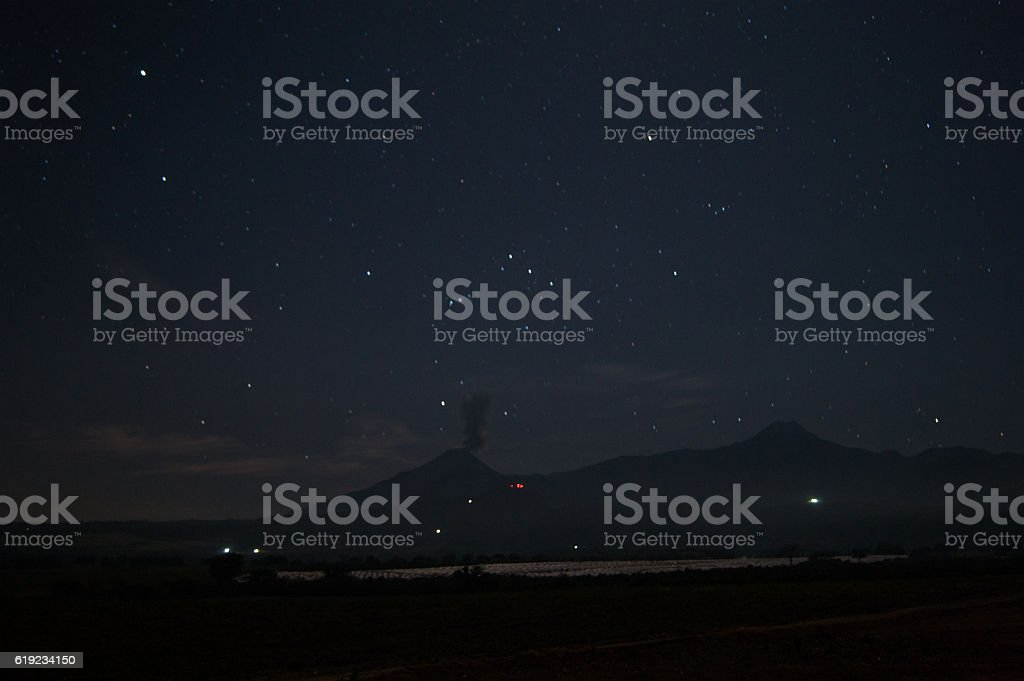 Orion constellation over the volcanoes stock photo