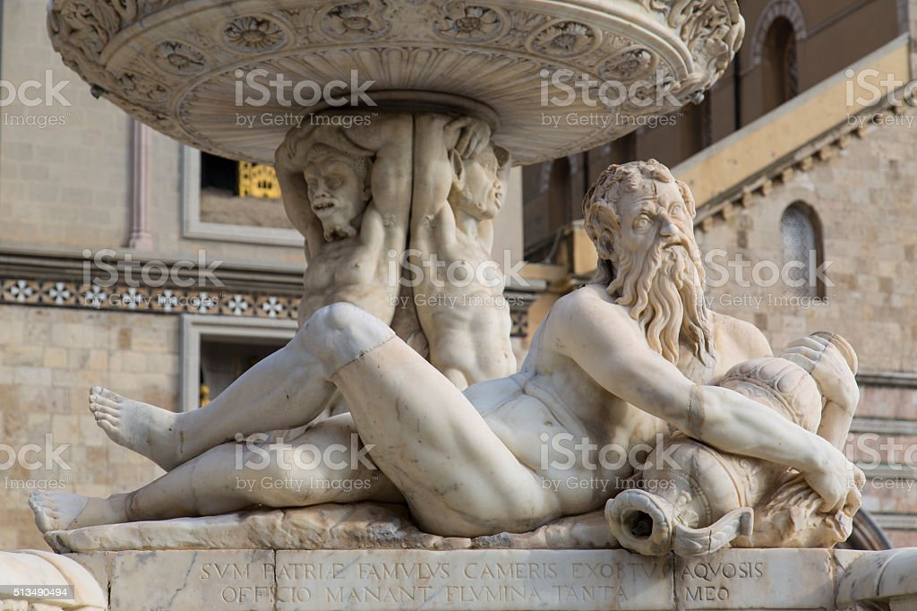 Orion Sculpture on the Cathedral Scuare of Messina, Sicily, Italy stock photo