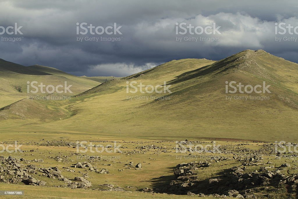 Orkhon Valley Regenzeit in der mongolischen Steppe stock photo