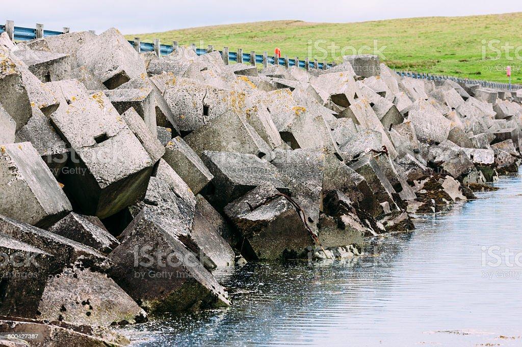 Orkney Island causeway stock photo