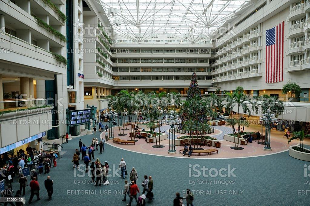 Orlando airport lobby holiday season stock photo