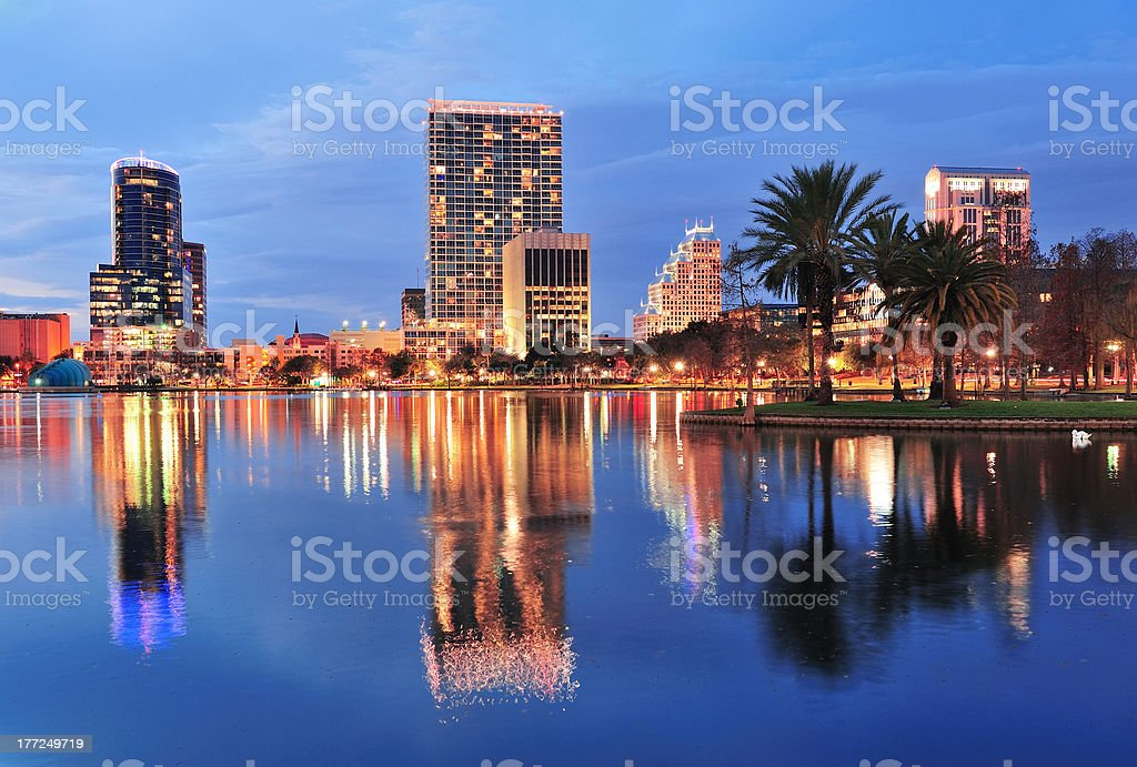 Orlando downtown dusk royalty-free stock photo