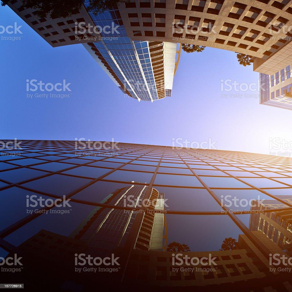 Orlando Downtown, Skyscraper Buildings, Architecture Sun Flare stock photo