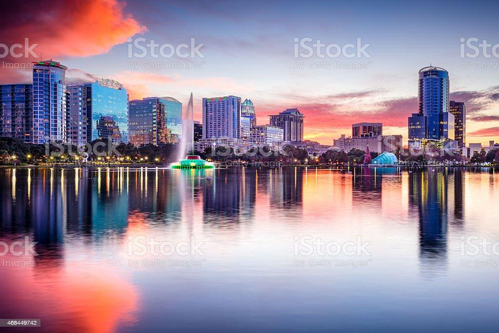 Orlando, Florida skyline at sunset  stock photo