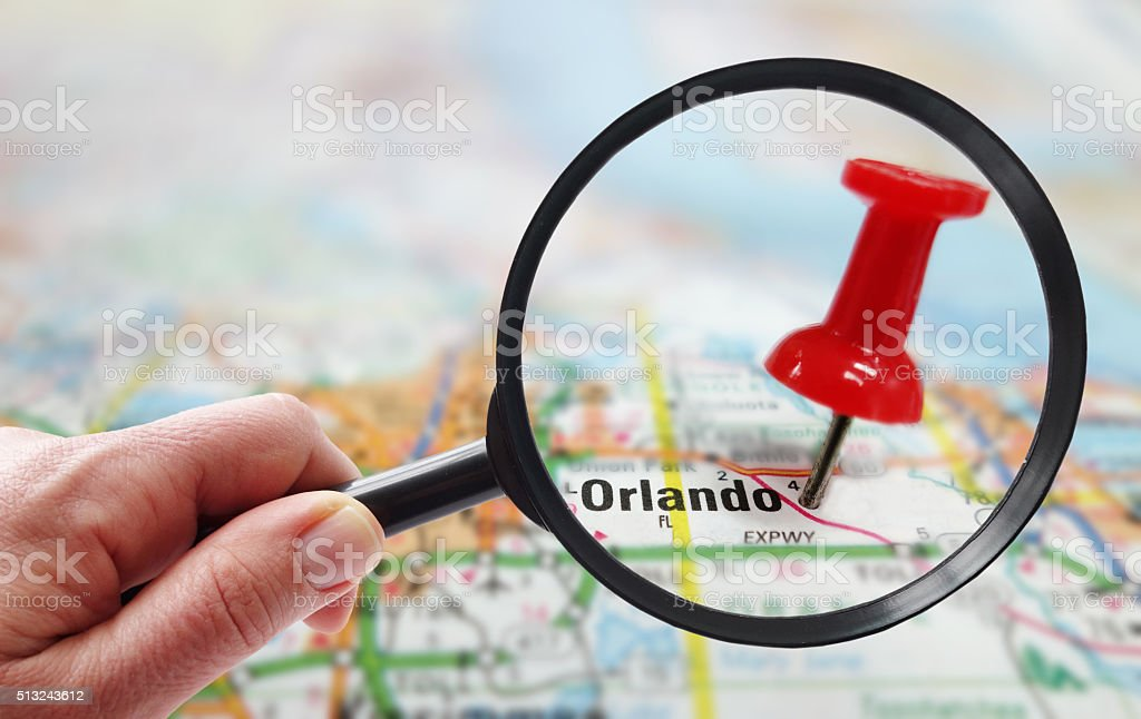 orlando map closeup stock photo