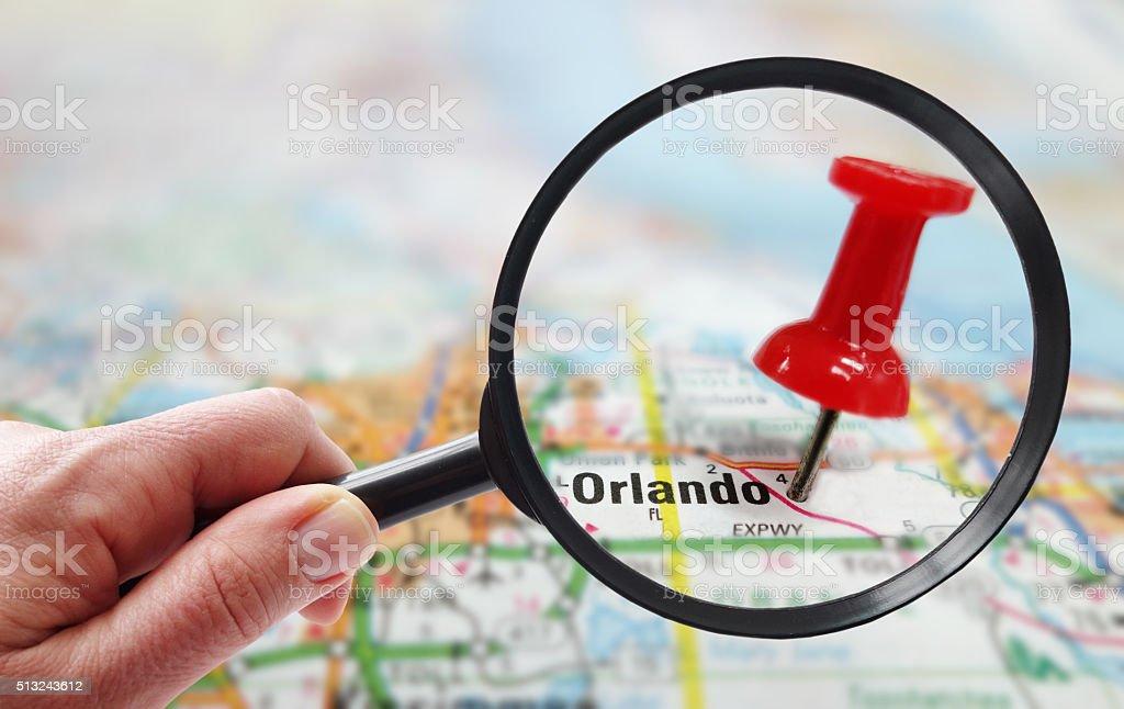 orlando map closeup stock photo