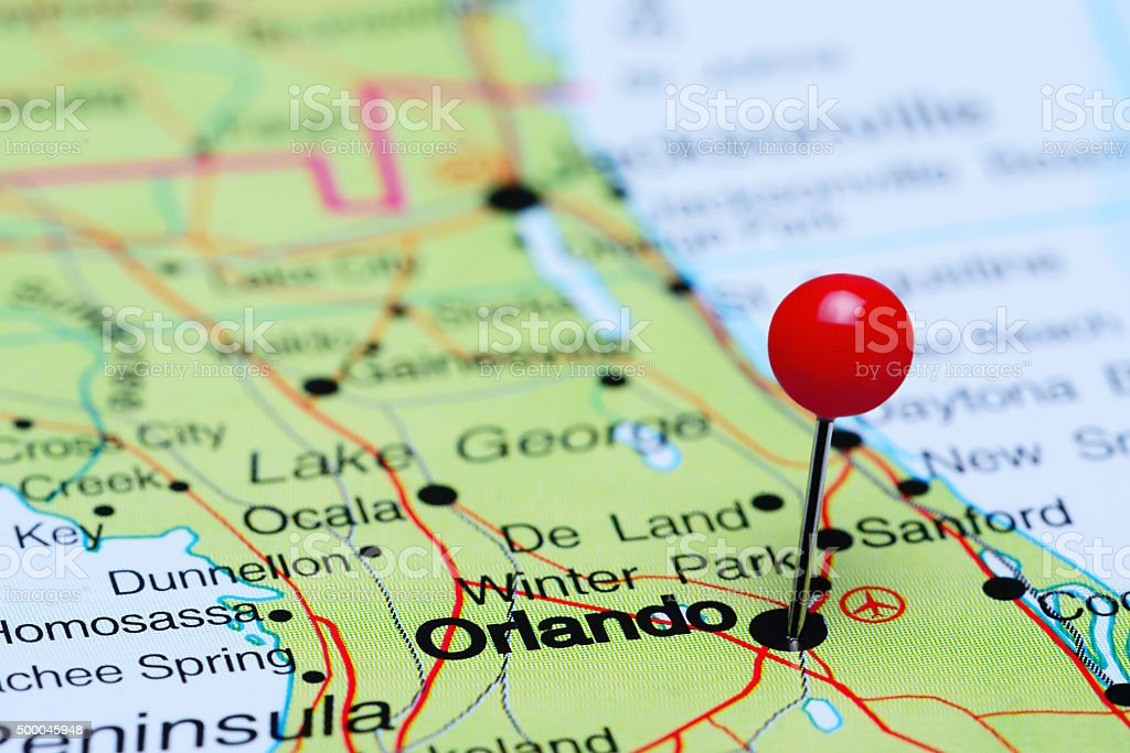 Orlando pinned on a map of USA stock photo