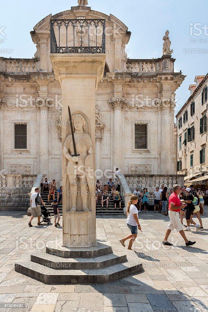 Orlando's column in Dubrovnik stock photo
