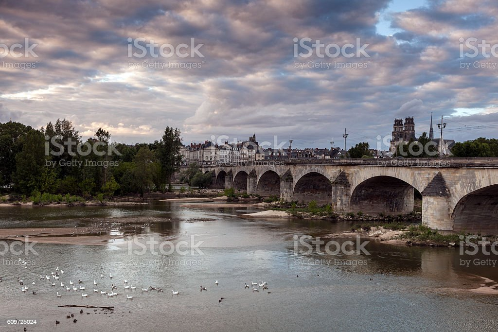 Orleans panorama with Loire River stock photo