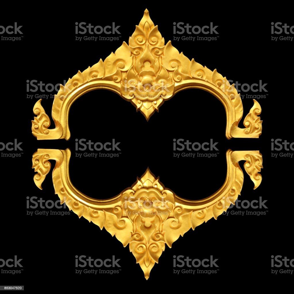 Ornament elements, vintage gold floral designs on black stock photo