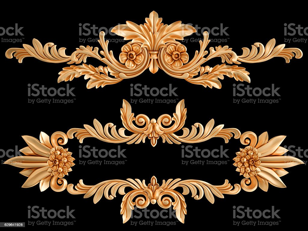 Ornament gold on a black background. Isolated stock photo