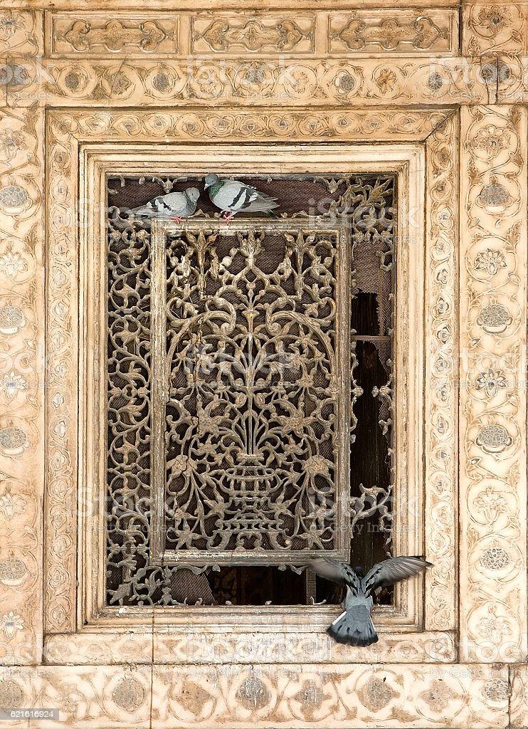 Ornament lattice window stock photo