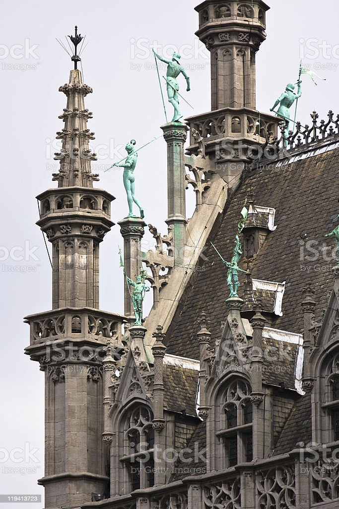 Ornament on Grote markt in brussels stock photo