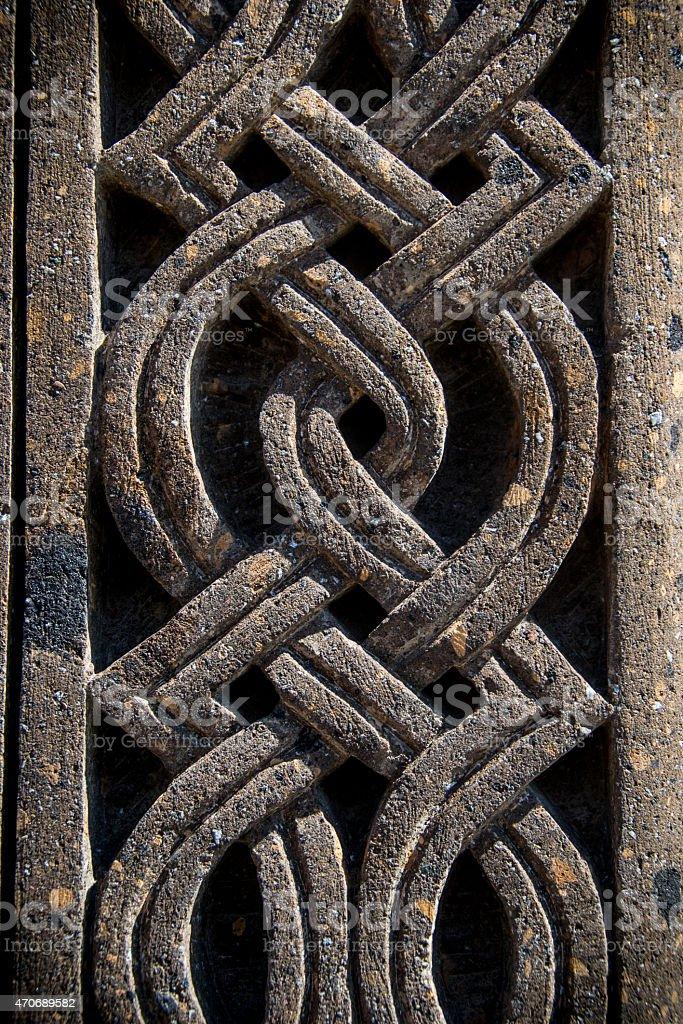 ornament on stone, part of khachkar stock photo