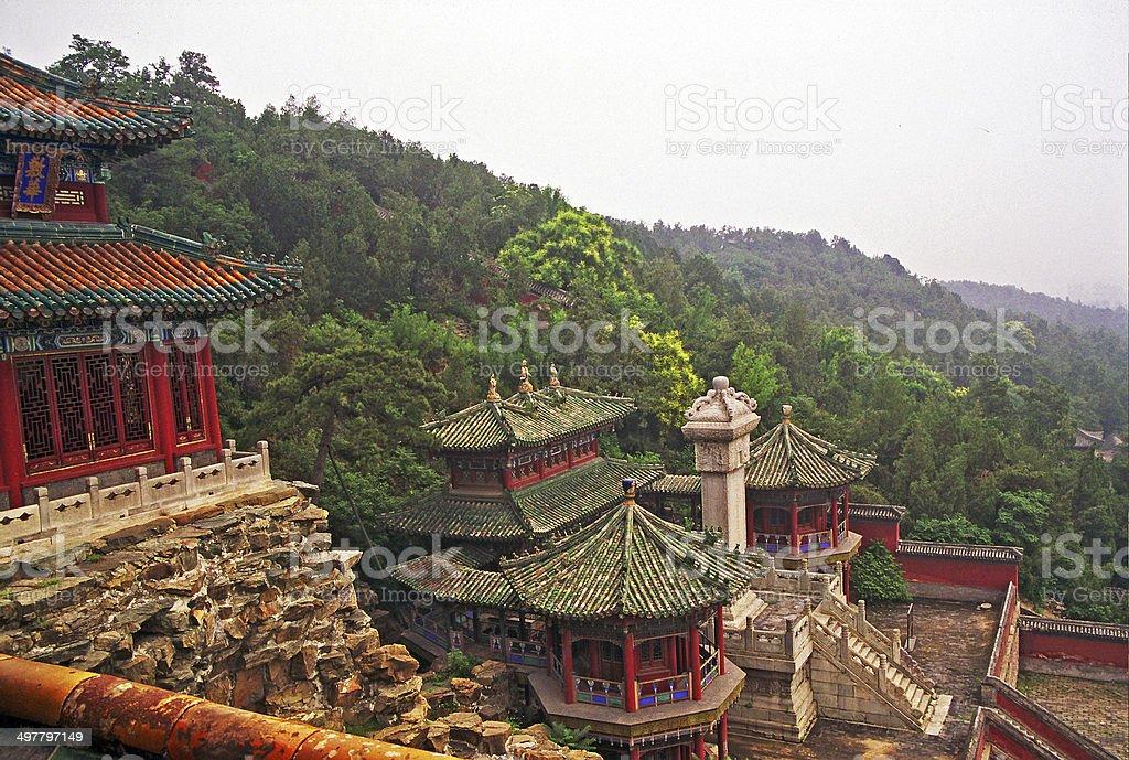 ornamental, beautiful buildings at longevity hill in summer pala stock photo
