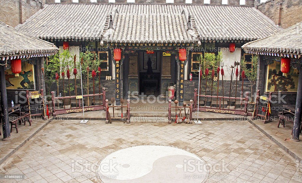 Ornamental courtyard of a historical house in Pingyao, China stock photo