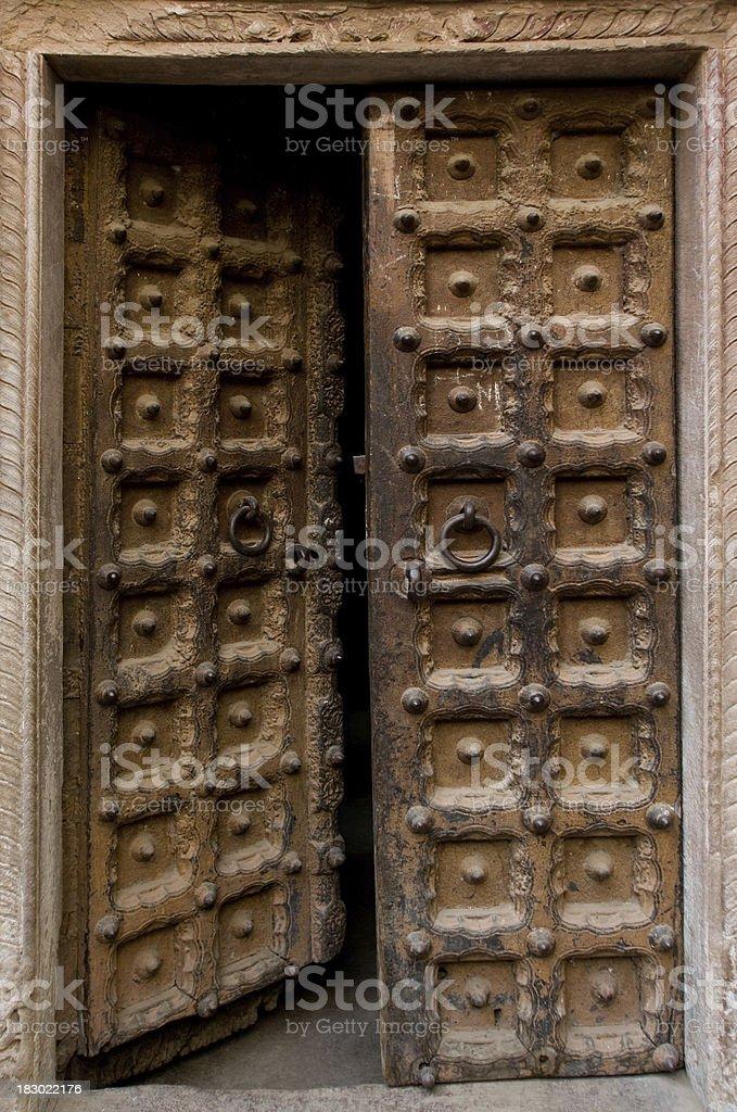Ornamental door in Varanasi royalty-free stock photo