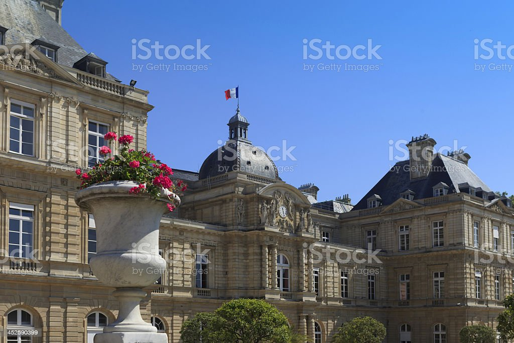 ornamental flower pot at Jardin du Luxembourg stock photo