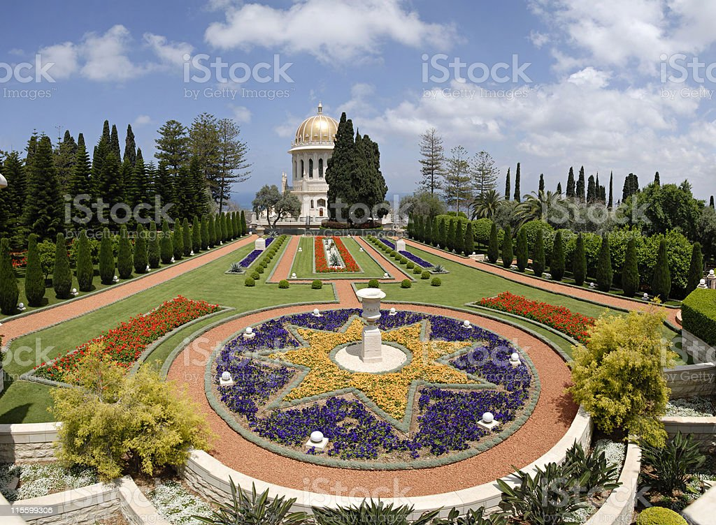 Ornamental garden of the Baha'i Temple in Haifa, Israel. stock photo