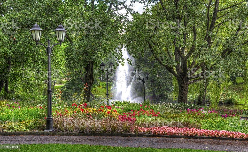 Ornamental Gardens and fountain Riga Latvia royalty-free stock photo