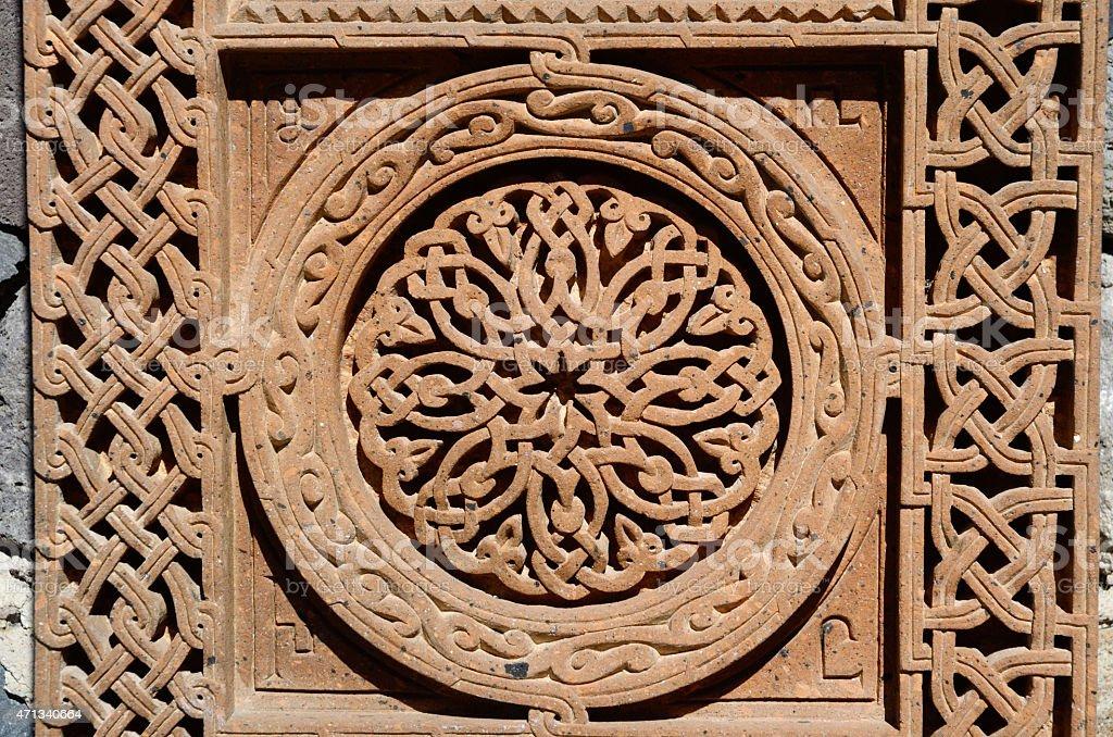 Ornamental knotworks of armenian cross stones, khachkars,medieval christian art stock photo