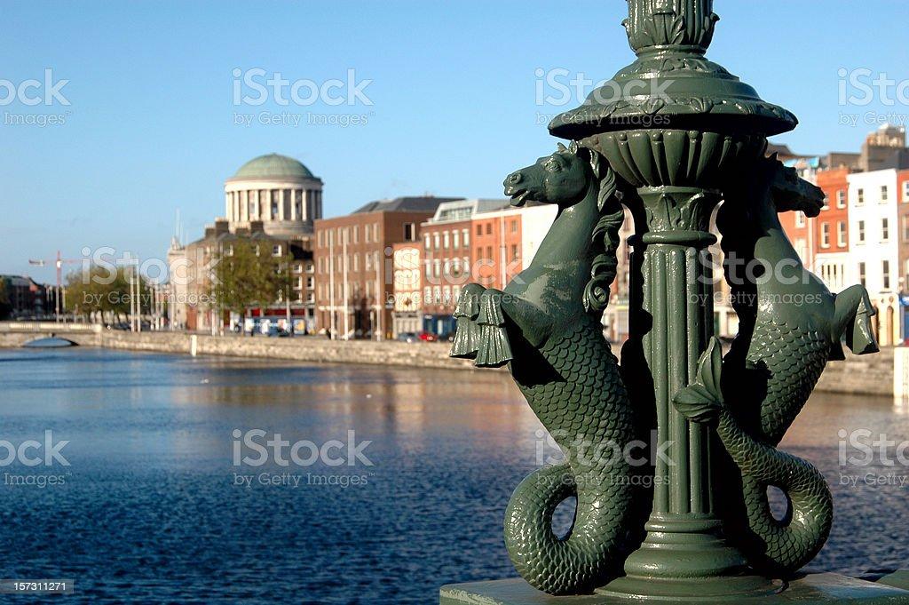 Ornamental lampost base on the Liffy in Dublin stock photo