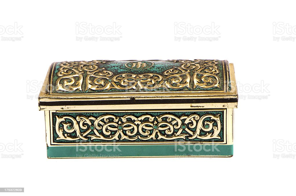 ornamental metal box for jewelery isolated on white stock photo