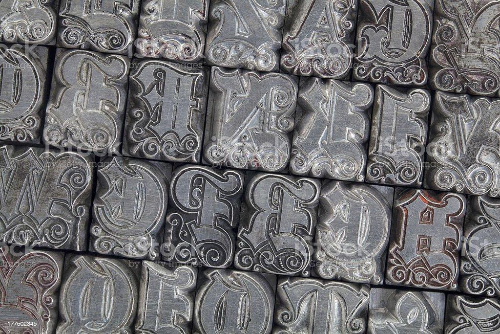 ornamental metal letterpress type royalty-free stock photo