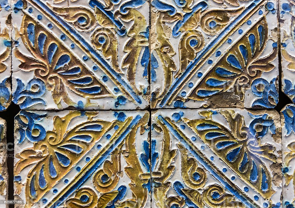 Ornamental old tiles stock photo
