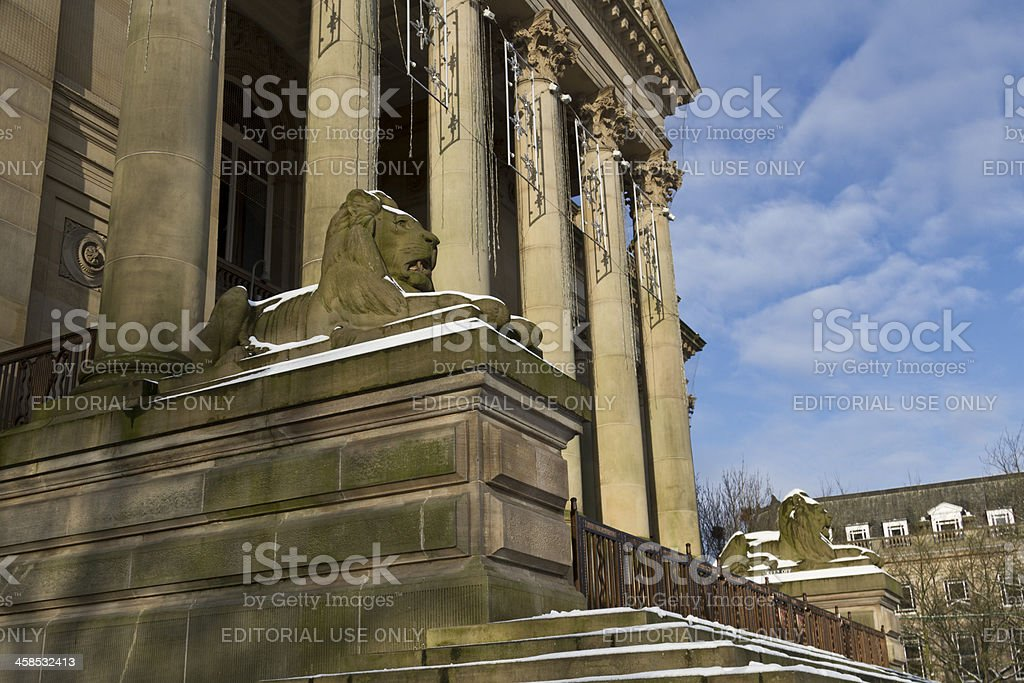 Ornamental Stone Lions of Bolton Town Hall stock photo