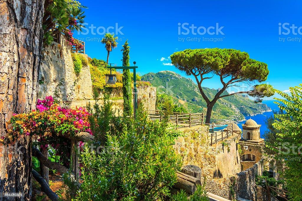 Ornamental suspended garden,Rufolo garden,Ravello,Amalfi coast,Italy,Europe stock photo