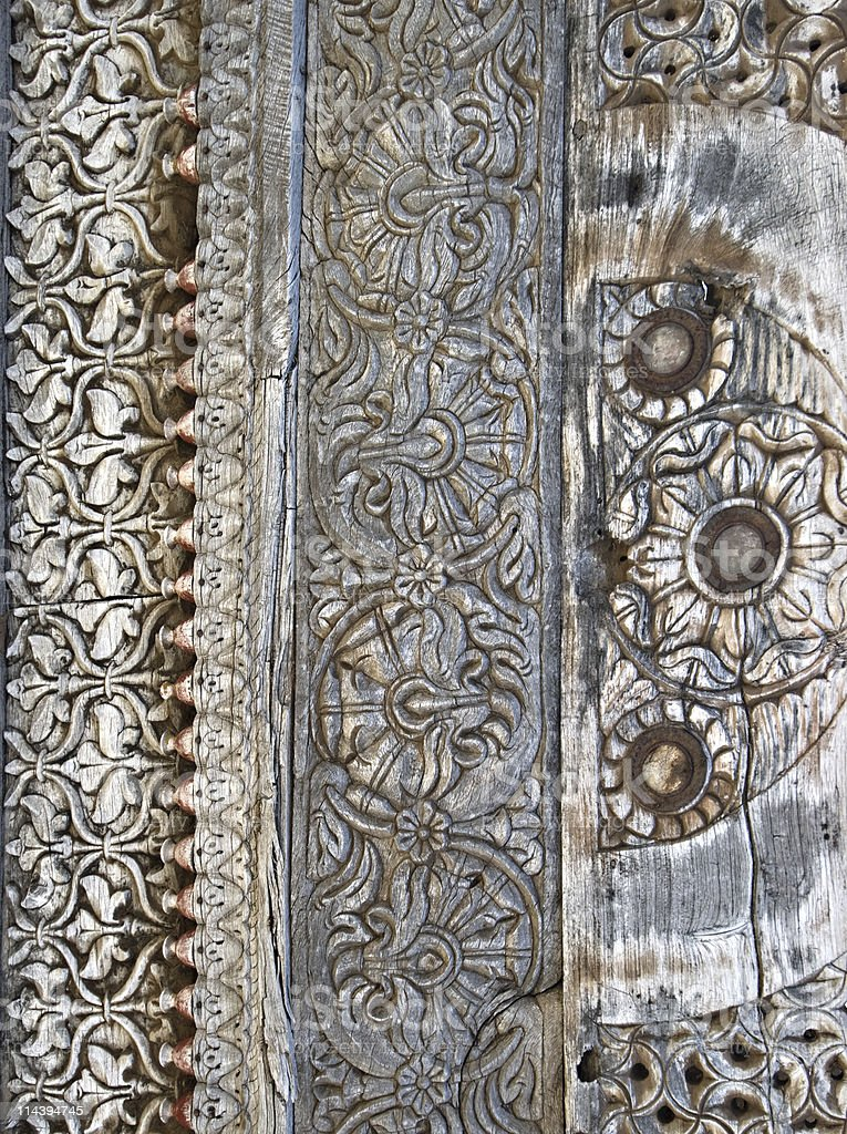 Ornamental Wood Carving Background stock photo