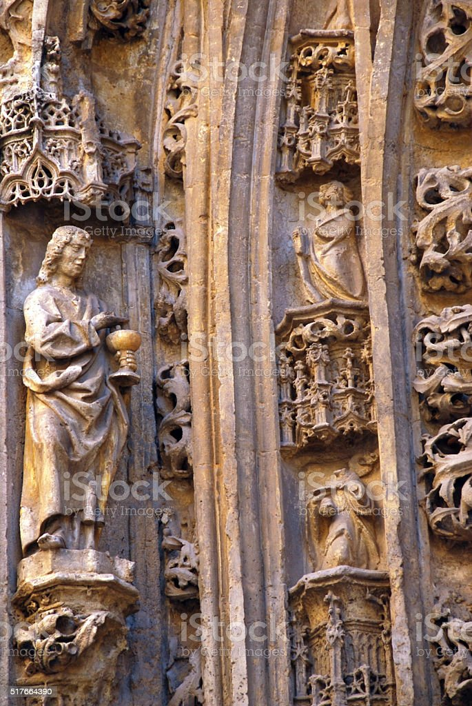 Ornamentation of the Malaga Cathedral. stock photo