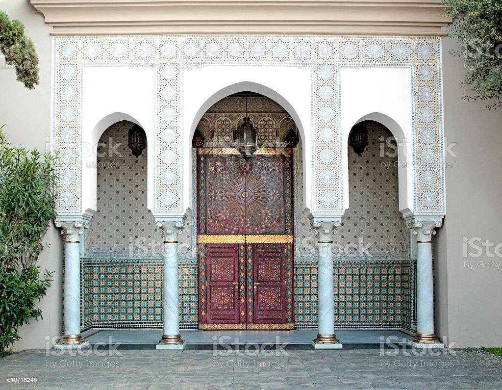 Ornamented door, Hassan II Mosque, Casablanca, Morocco stock photo