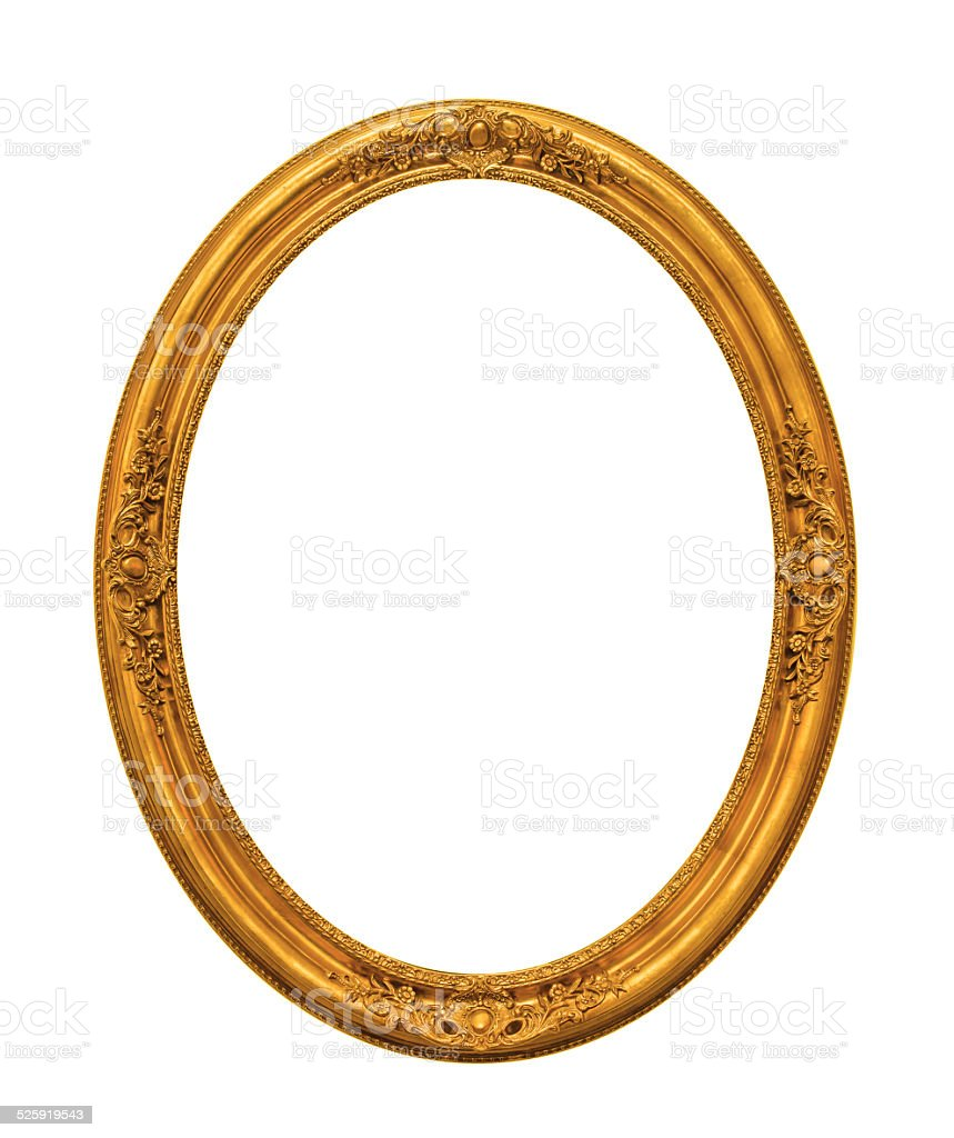 Ornamented gold plated empty picture frame Isolated on white bac stock photo