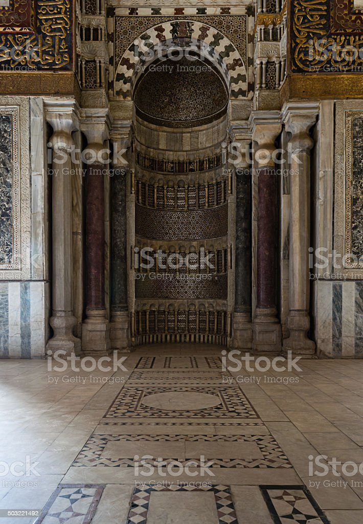 Ornamented sculpted mihrab, Old Cairo, Egypt stock photo