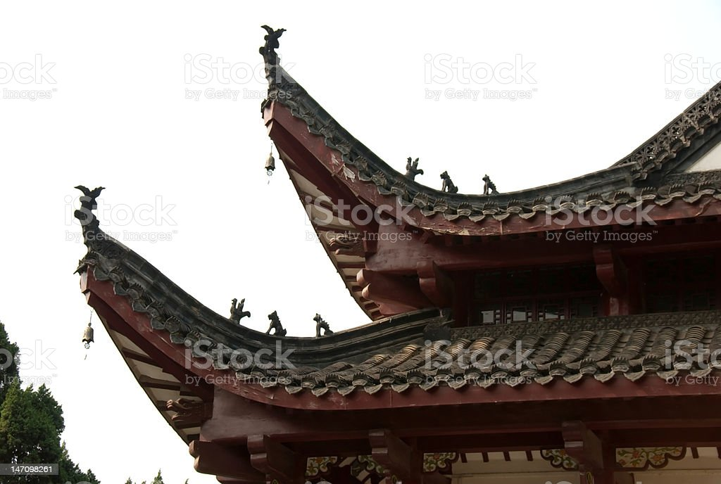 Ornamented Temple Roof stock photo