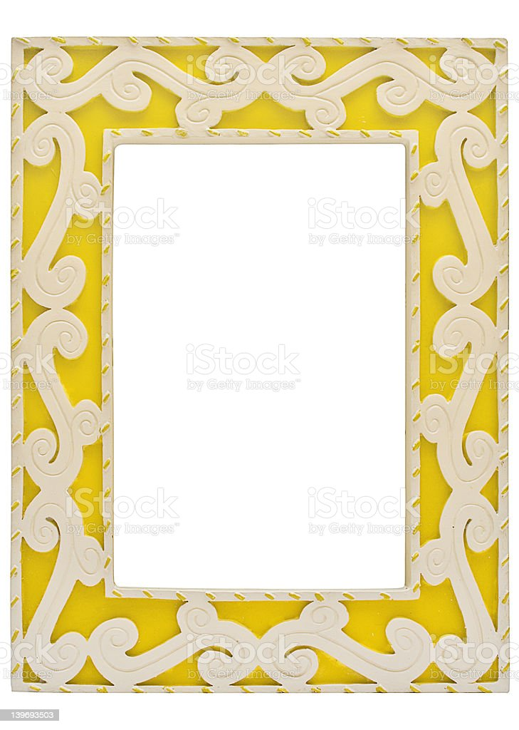 Ornamented Yellow Picture Frame w/ Path royalty-free stock photo