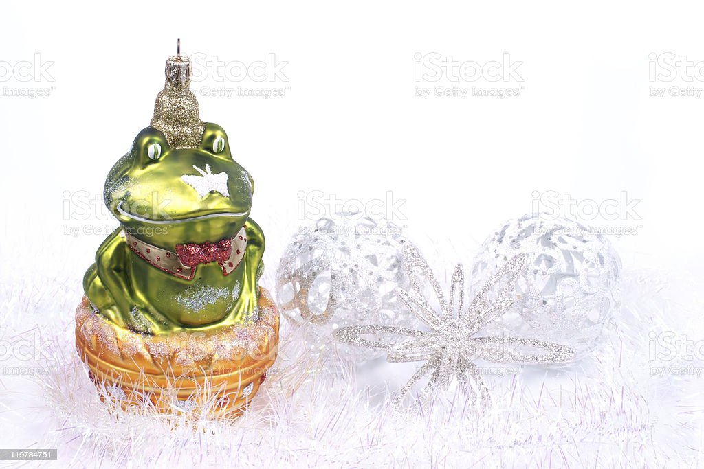 Ornaments Christmas, frog glass bauble stock photo