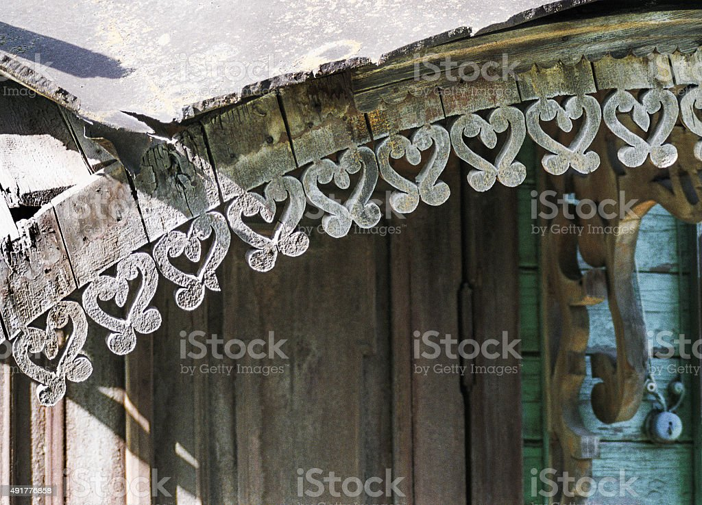 Ornaments Detail of the canopy  old Russian   house. stock photo