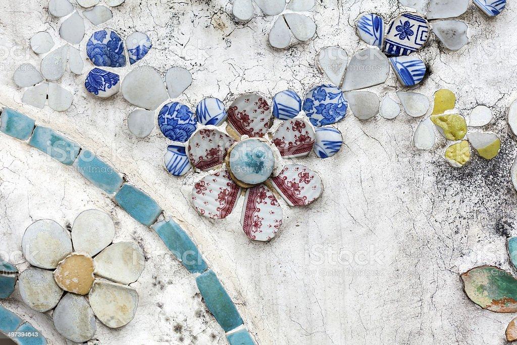 Ornaments made of porcelain at Wat Arun stock photo