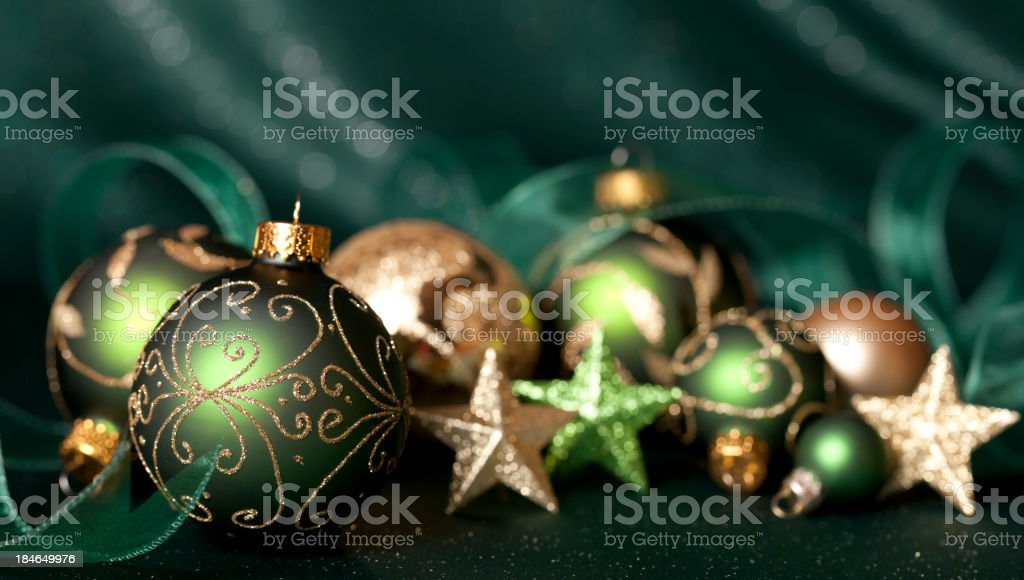 Ornaments On Green royalty-free stock photo