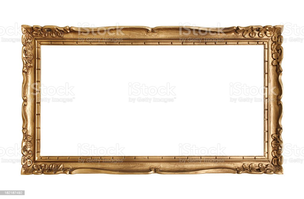Ornate antique gold frame on white background royalty-free stock photo