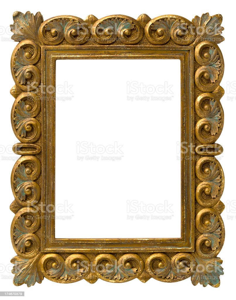 Ornate Antique Gold Picture Frame. Clipping Path. stock photo