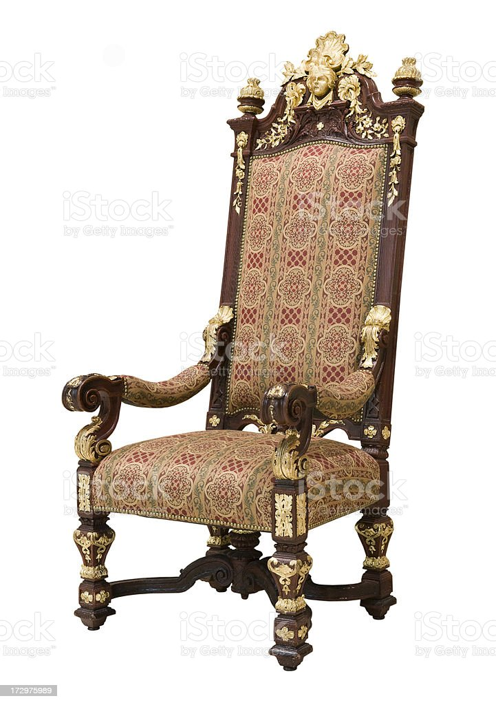 Ornate Antique Throne Isolated on White royalty-free stock photo